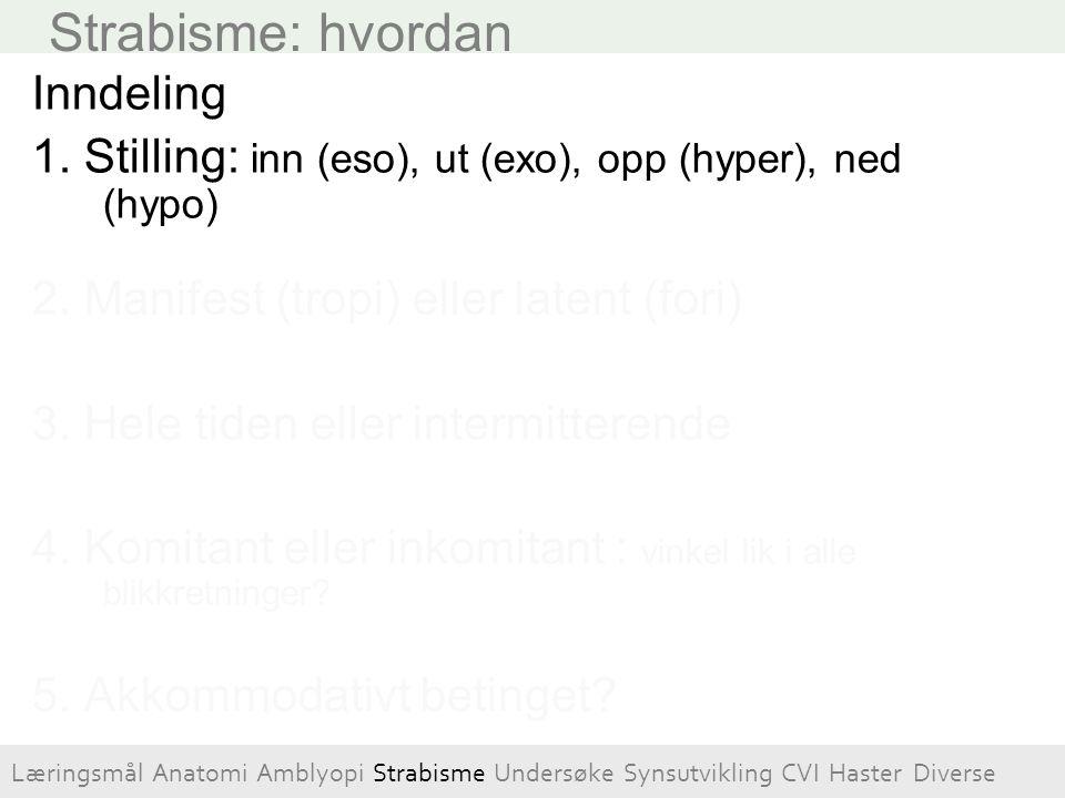 Strabisme: hvordan Inndeling 1. Stilling: inn (eso), ut (exo), opp (hyper), ned (hypo) 2. Manifest (tropi) eller latent (fori) 3. Hele tiden eller int