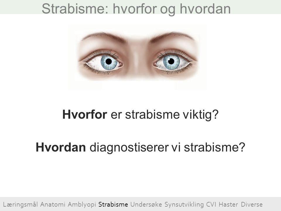 Hvorfor er strabisme viktig? Hvordan diagnostiserer vi strabisme? Strabisme: hvorfor og hvordan Læringsmål Anatomi Amblyopi Strabisme Undersøke Synsut
