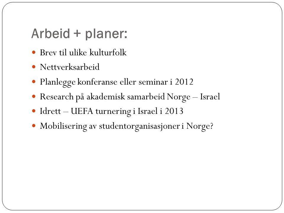 Arbeid + planer: Brev til ulike kulturfolk Nettverksarbeid Planlegge konferanse eller seminar i 2012 Research på akademisk samarbeid Norge – Israel Idrett – UEFA turnering i Israel i 2013 Mobilisering av studentorganisasjoner i Norge