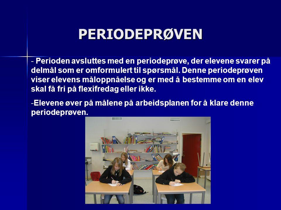 PERIODEPRØVEN - - Perioden avsluttes med en periodeprøve, der elevene svarer på delmål som er omformulert til spørsmål. Denne periodeprøven viser elev