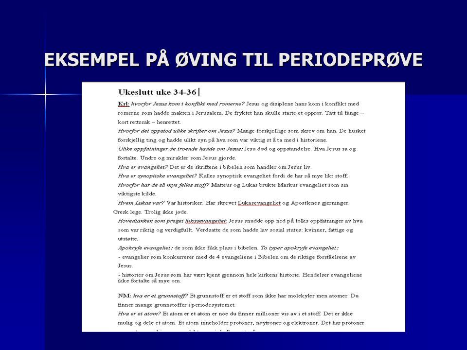EKSEMPEL PÅ ØVING TIL PERIODEPRØVE