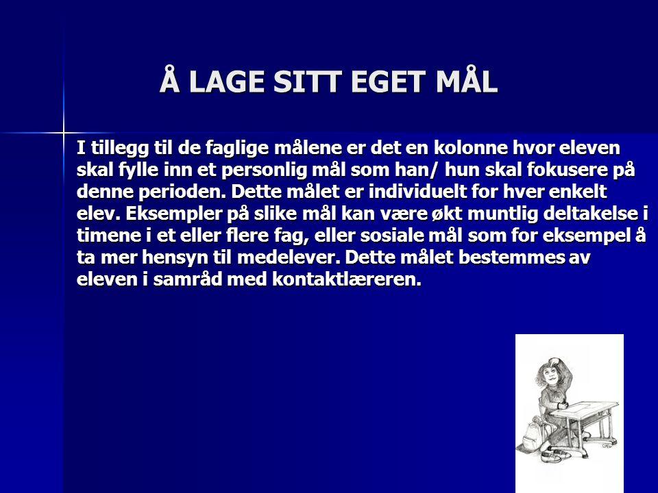 EKSEMPEL PÅ MÅL FRA ARBEIDSPLAN