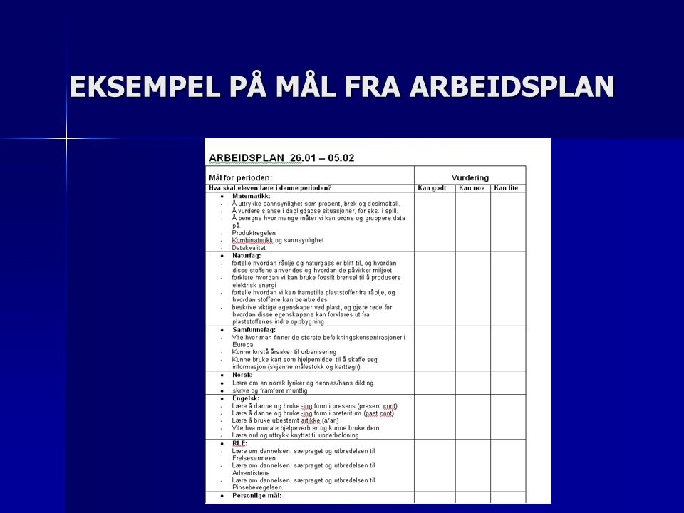 TILTAK FOR Å NÆRME OSS GLANSBILDET Elevene kjenner læringsmålene.