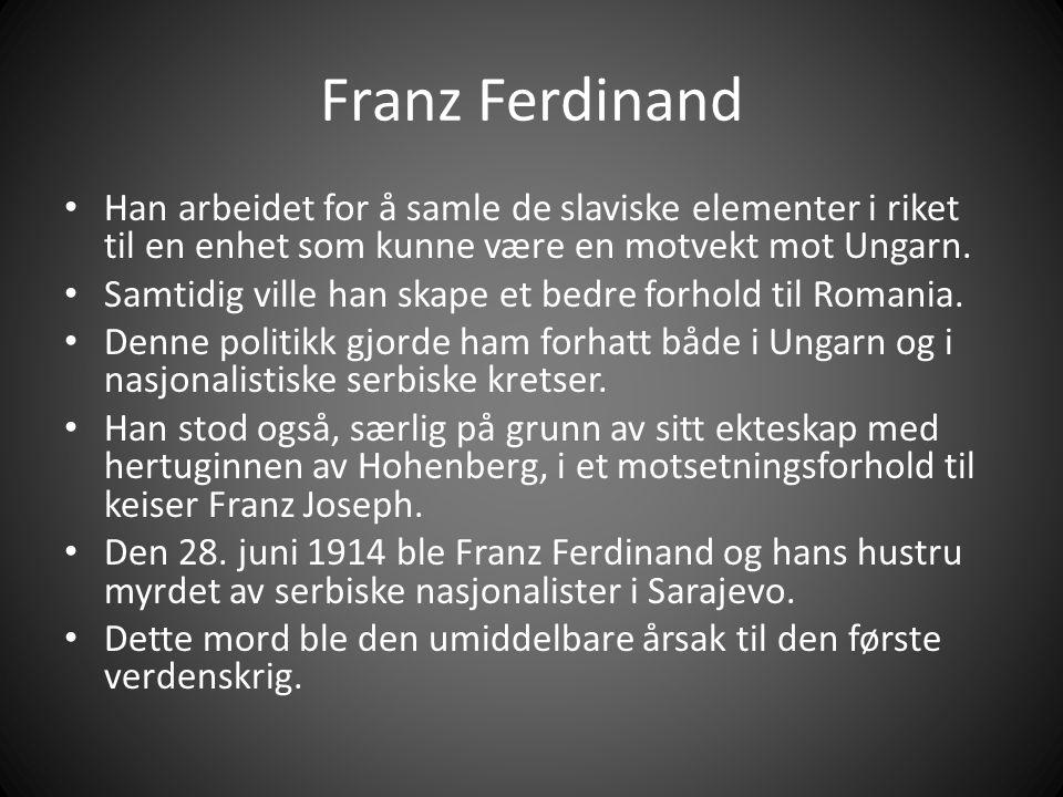 Franz Ferdinand Han arbeidet for å samle de slaviske elementer i riket til en enhet som kunne være en motvekt mot Ungarn.