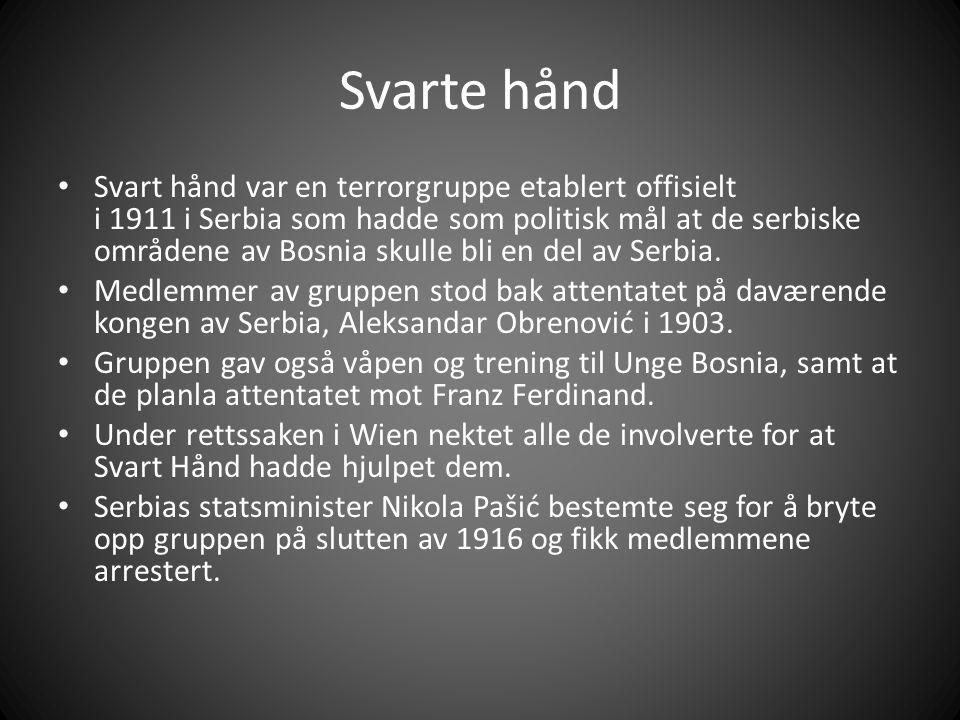 Svarte hånd Svart hånd var en terrorgruppe etablert offisielt i 1911 i Serbia som hadde som politisk mål at de serbiske områdene av Bosnia skulle bli en del av Serbia.