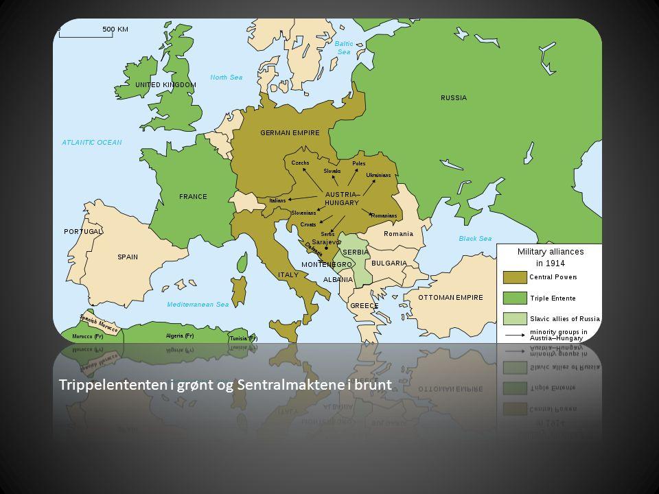Trippelententen i grønt og Sentralmaktene i brunt