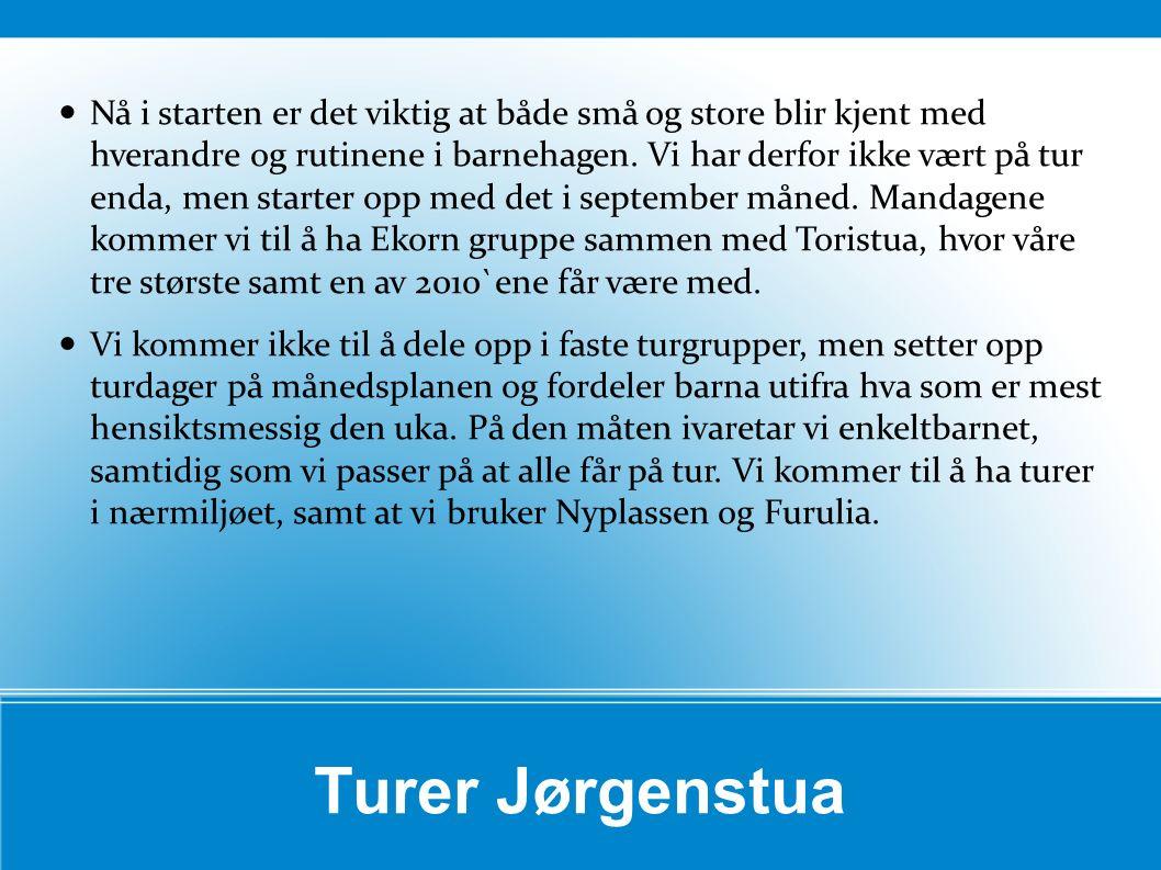 Turer Jørgenstua Nå i starten er det viktig at både små og store blir kjent med hverandre og rutinene i barnehagen. Vi har derfor ikke vært på tur end