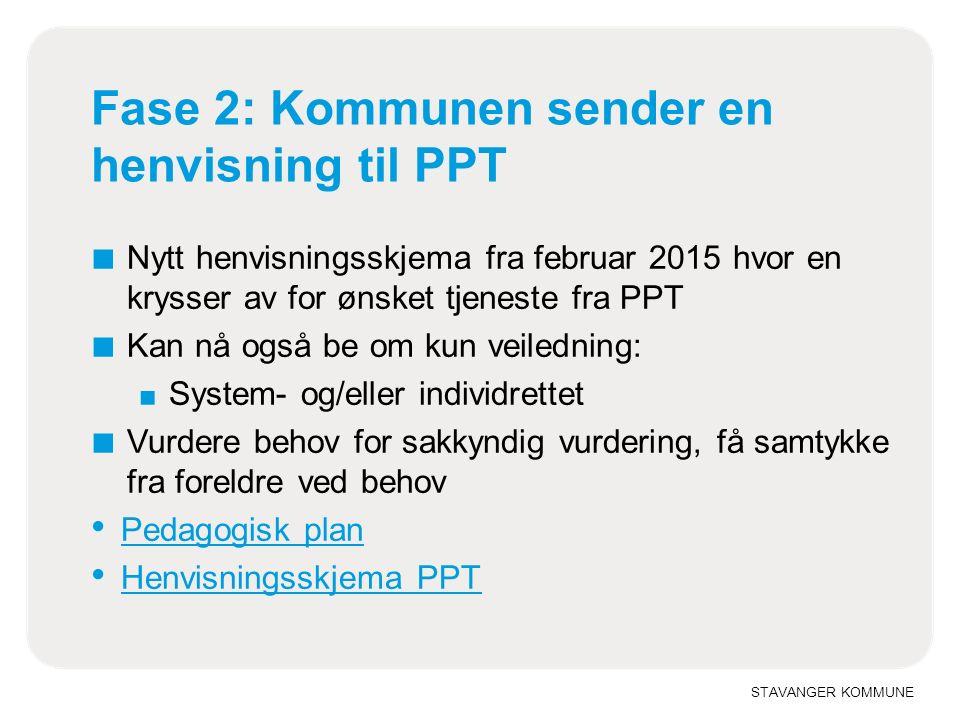 STAVANGER KOMMUNE Fase 2: Kommunen sender en henvisning til PPT ■ Nytt henvisningsskjema fra februar 2015 hvor en krysser av for ønsket tjeneste fra P