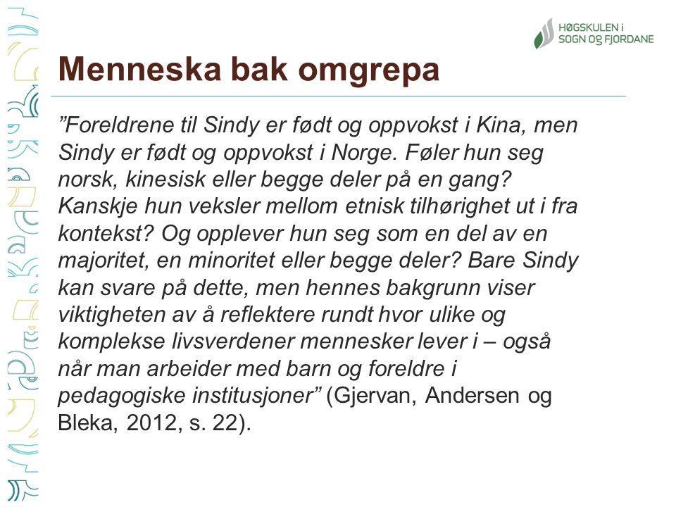 Menneska bak omgrepa Foreldrene til Sindy er født og oppvokst i Kina, men Sindy er født og oppvokst i Norge.