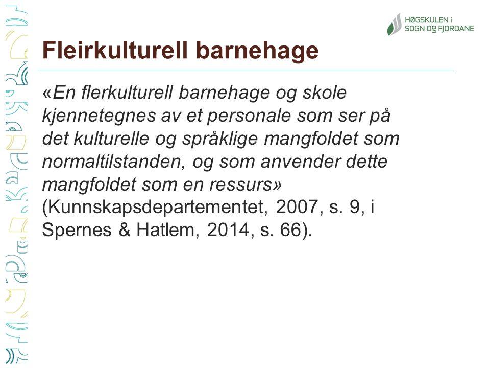«En flerkulturell barnehage og skole kjennetegnes av et personale som ser på det kulturelle og språklige mangfoldet som normaltilstanden, og som anvender dette mangfoldet som en ressurs» (Kunnskapsdepartementet, 2007, s.