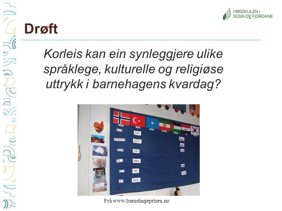Drøft Korleis kan ein synleggjere ulike språklege, kulturelle og religiøse uttrykk i barnehagens kvardag.