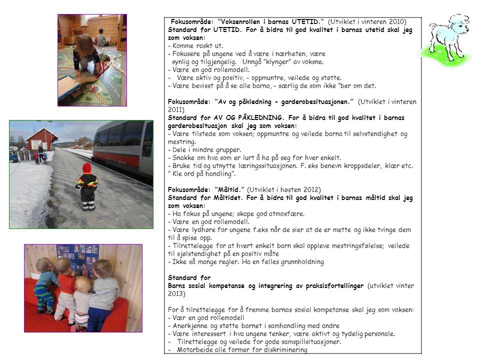 Fokusområde: Voksenrollen i barnas UTETID. (Utviklet i vinteren 2010) Standard for UTETID.