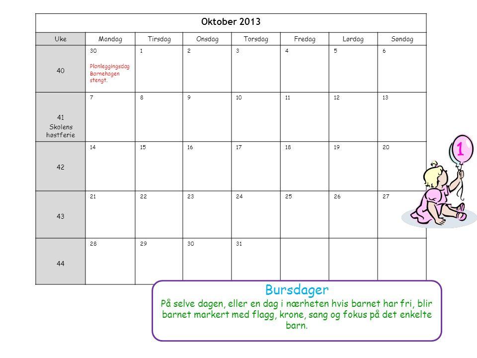 Oktober 2013 UkeMandagTirsdagOnsdagTorsdagFredagLørdagSøndag 40 30 Planleggingsdag Barnehagen stengt.