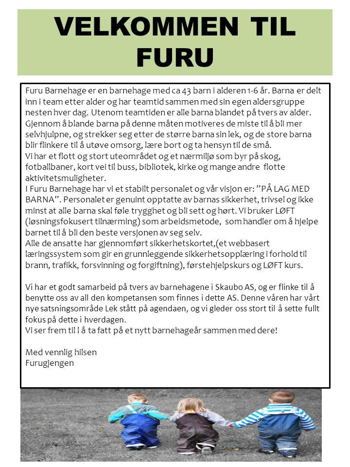 VELKOMMEN TIL FURU Furu Barnehage er en barnehage med ca 43 barn i alderen 1-6 år. Barna er delt inn i team etter alder og har teamtid sammen med sin