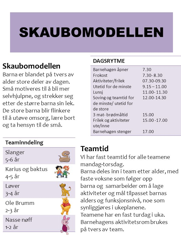 SKAUBOMODELLEN Teamtid Vi har fast teamtid for alle teamene mandag-torsdag. Barna deles inn i team etter alder, med faste voksne som følger opp barna