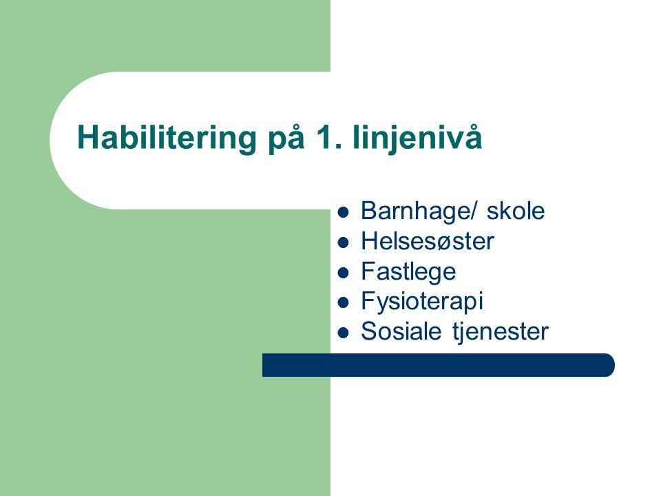 Habilitering på 1. linjenivå Barnhage/ skole Helsesøster Fastlege Fysioterapi Sosiale tjenester