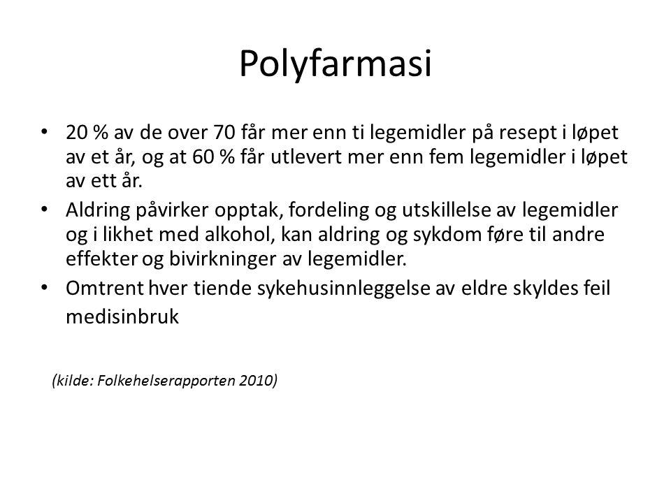 Polyfarmasi 20 % av de over 70 får mer enn ti legemidler på resept i løpet av et år, og at 60 % får utlevert mer enn fem legemidler i løpet av ett år.