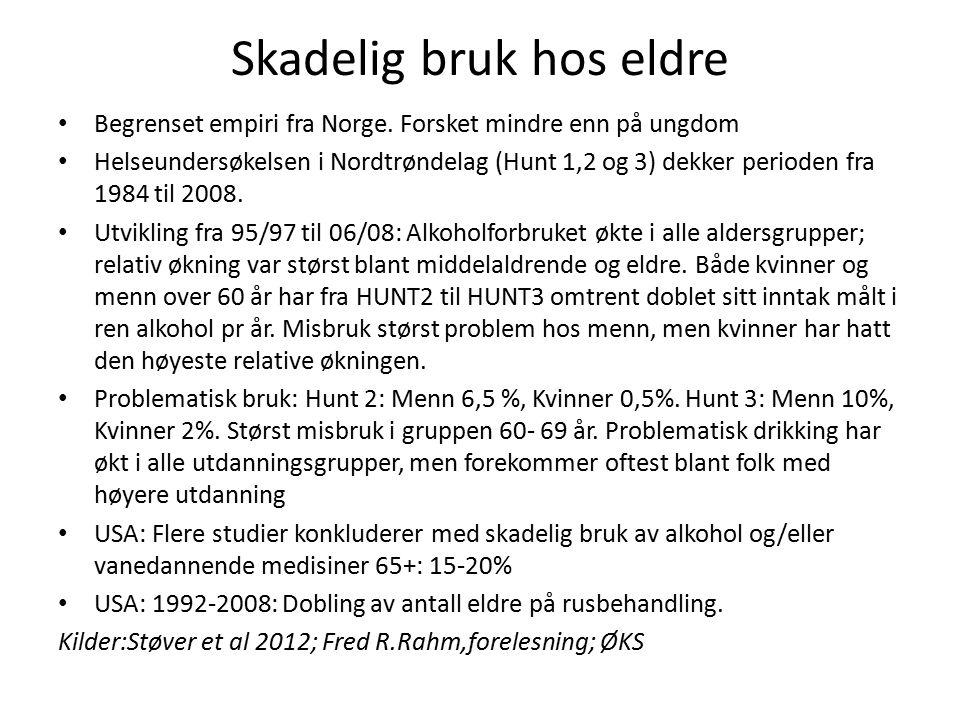 Skadelig bruk hos eldre Begrenset empiri fra Norge.