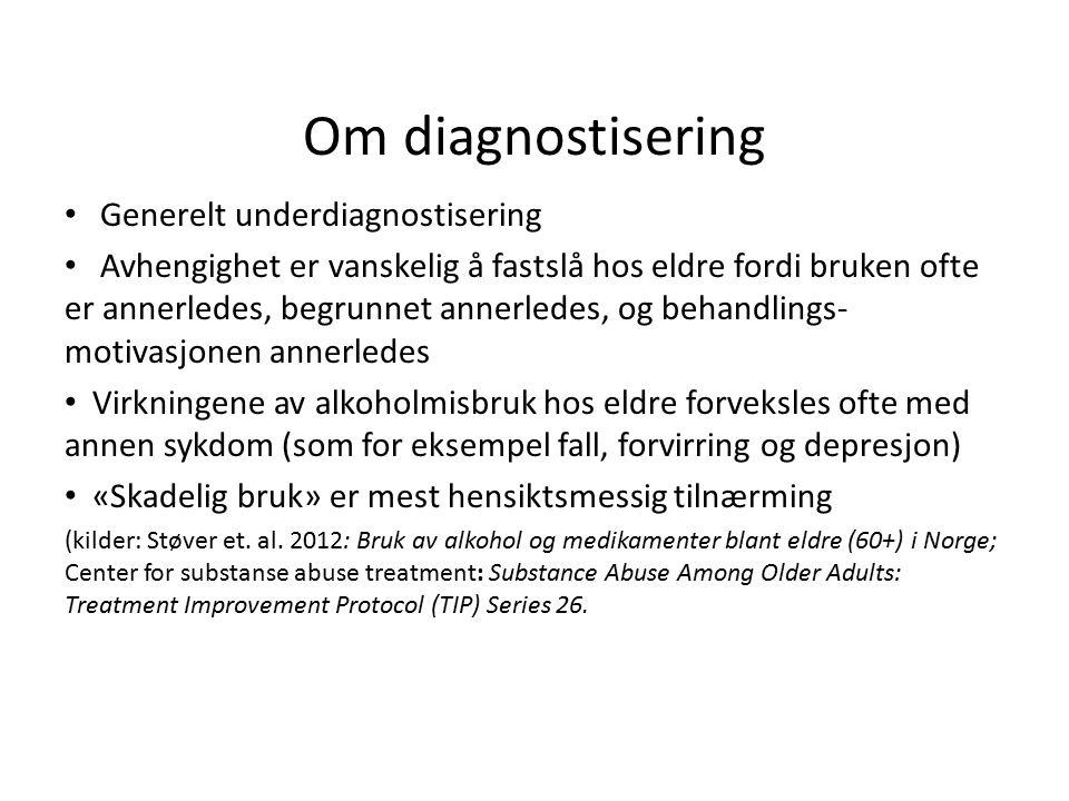 Kompliserende faktorer Relasjonsfaktorer: Eldre <> helsearbeidere Normal kognitiv svekkelse Demens Psykisk sykdom Fysisk sykdom.
