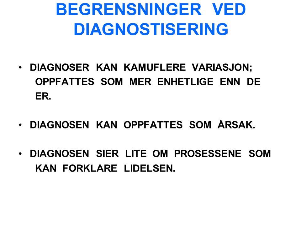 BEGRENSNINGER VED DIAGNOSTISERING DIAGNOSER KAN KAMUFLERE VARIASJON; OPPFATTES SOM MER ENHETLIGE ENN DE ER.