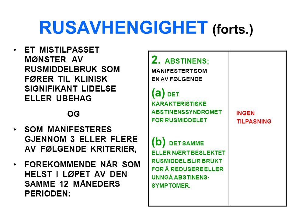 RUSAVHENGIGHET (forts.) ET MISTILPASSET MØNSTER AV RUSMIDDELBRUK SOM FØRER TIL KLINISK SIGNIFIKANT LIDELSE ELLER UBEHAG OG SOM MANIFESTERES GJENNOM 3 ELLER FLERE AV FØLGENDE KRITERIER, FOREKOMMENDE NÅR SOM HELST I LØPET AV DEN SAMME 12 MÅNEDERS PERIODEN: 2.