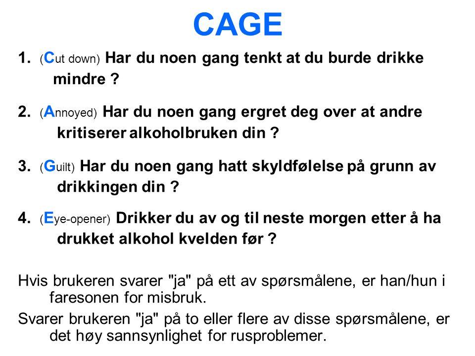 CAGE 1. ( C ut down) Har du noen gang tenkt at du burde drikke mindre .