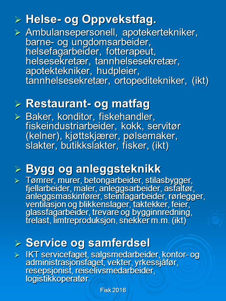 Fisk 2016  Helse- og Oppvekstfag.