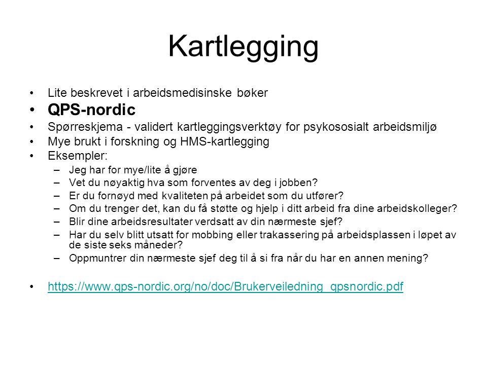 Kartlegging Lite beskrevet i arbeidsmedisinske bøker QPS-nordic Spørreskjema - validert kartleggingsverktøy for psykososialt arbeidsmiljø Mye brukt i