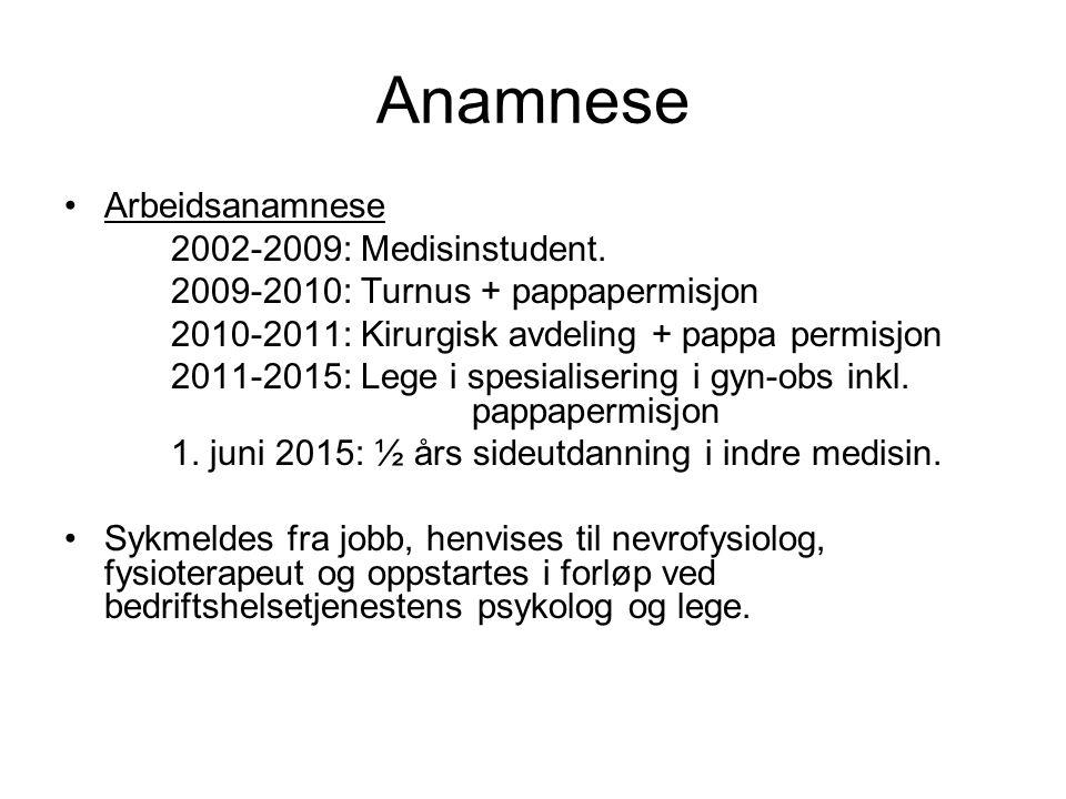 Anamnese Arbeidsanamnese 2002-2009: Medisinstudent. 2009-2010: Turnus + pappapermisjon 2010-2011: Kirurgisk avdeling + pappa permisjon 2011-2015: Lege