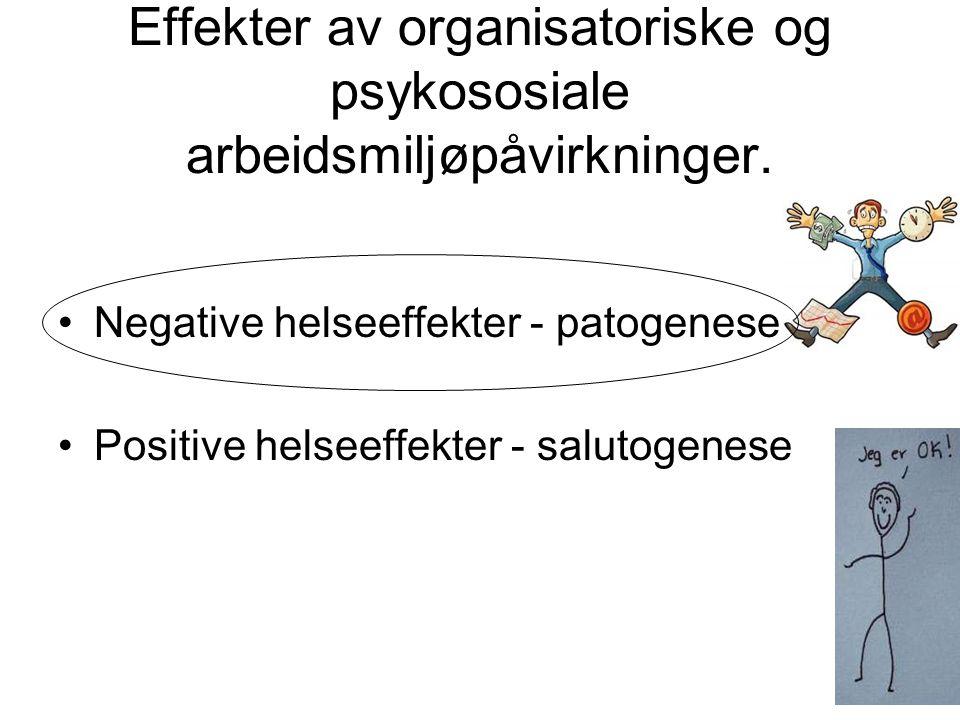Effekter av organisatoriske og psykososiale arbeidsmiljøpåvirkninger. Negative helseeffekter - patogenese Positive helseeffekter - salutogenese