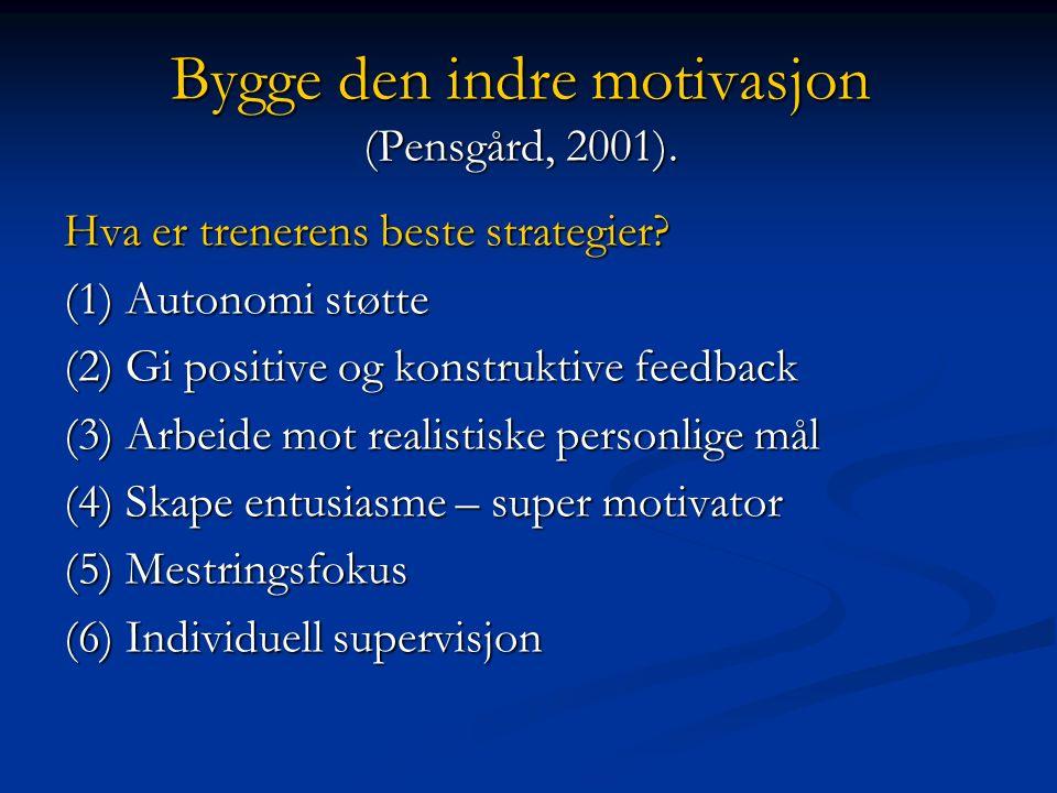 (5) ---MOTIVATOR (Deci & Ryan 1995) Treneren må bry seg om sine utøvere å: Vise glede Vise glede Vise entusiasme og glød – løfte utøveren Vise entusiasme og glød – løfte utøveren Utvikle utøverens selvstendighet- og selvurderingsevne Utvikle utøverens selvstendighet- og selvurderingsevne Være mestrings- og handlingsorientert - ikke tilstandsorientert Være mestrings- og handlingsorientert - ikke tilstandsorientert Skape varig indre prestasjonsmotivasjon Skape varig indre prestasjonsmotivasjon