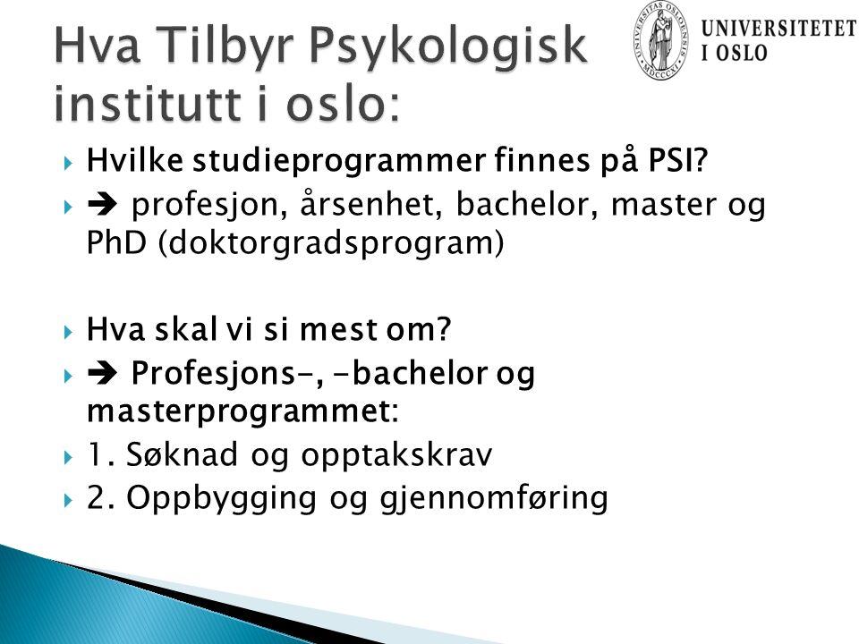  Hvilke studieprogrammer finnes på PSI.