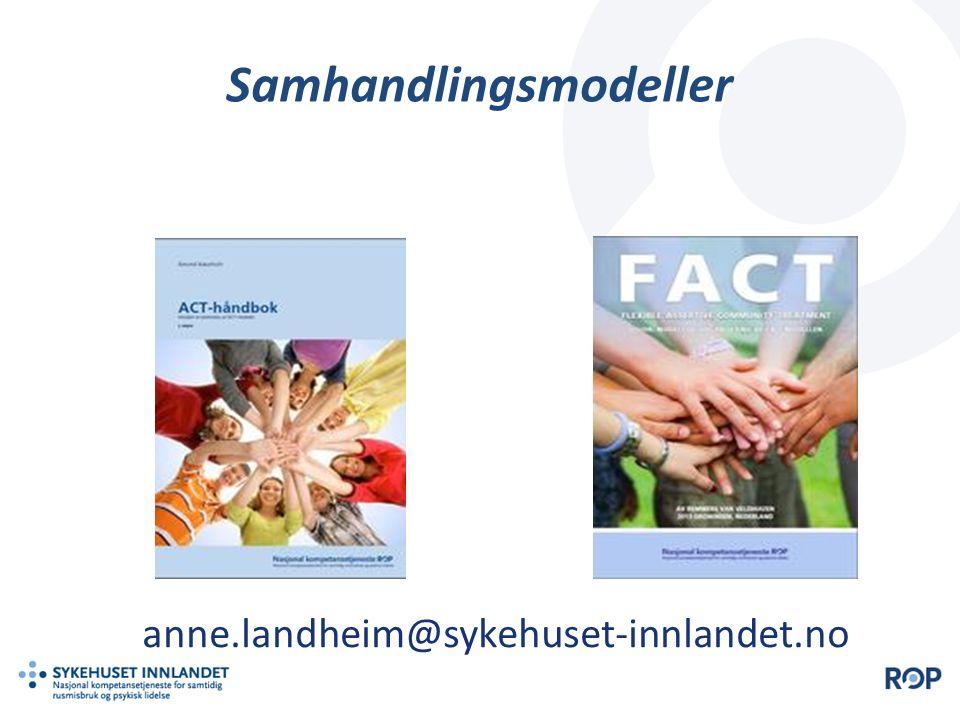 Resultater fra den norske evalueringen Antallet oppholdsdøgn er sterkt redusert fra 17172 til 8729 i toårsperioden etter inklusjon i ACT-teamene, sammenlignet med to år før inklusjon.