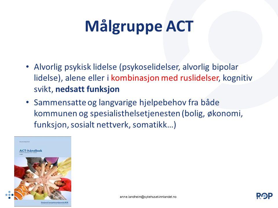 | Målgruppe ACT Alvorlig psykisk lidelse (psykoselidelser, alvorlig bipolar lidelse), alene eller i kombinasjon med ruslidelser, kognitiv svikt, nedsa