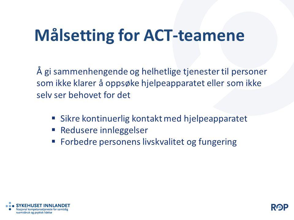Målsetting for ACT-teamene Å gi sammenhengende og helhetlige tjenester til personer som ikke klarer å oppsøke hjelpeapparatet eller som ikke selv ser