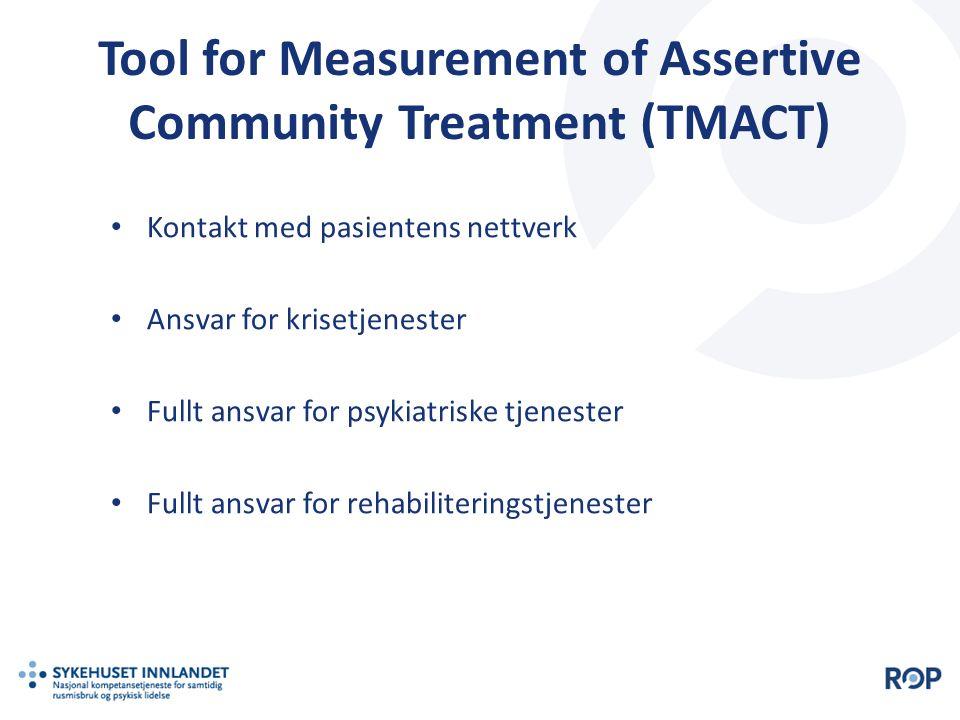 Tool for Measurement of Assertive Community Treatment (TMACT) Kontakt med pasientens nettverk Ansvar for krisetjenester Fullt ansvar for psykiatriske