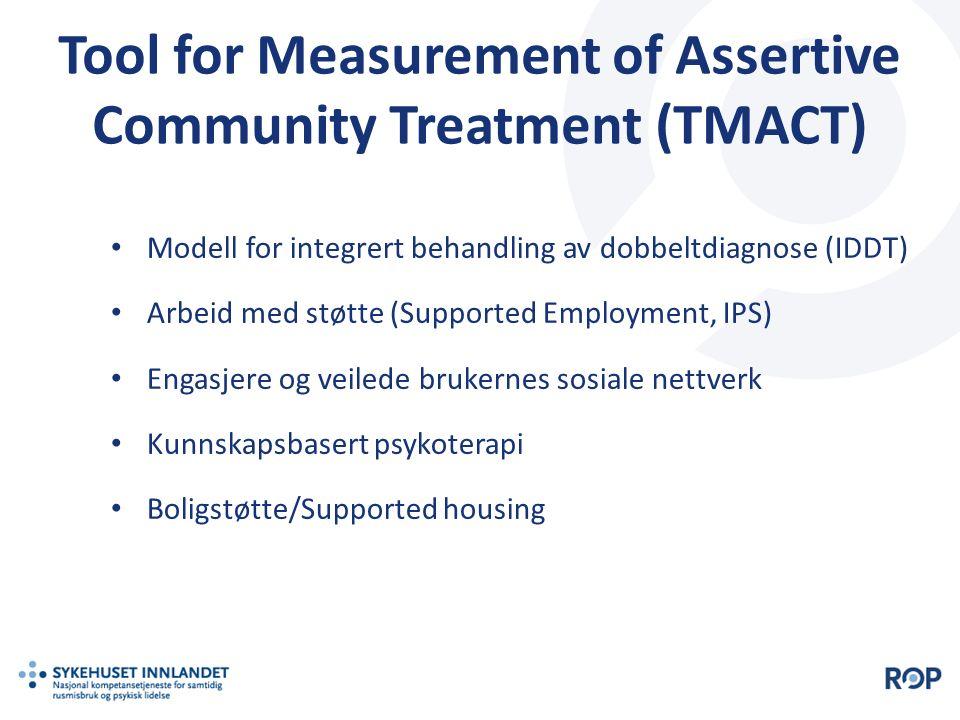 Tool for Measurement of Assertive Community Treatment (TMACT) Modell for integrert behandling av dobbeltdiagnose (IDDT) Arbeid med støtte (Supported E