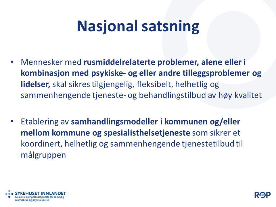 Nasjonal satsning Mennesker med rusmiddelrelaterte problemer, alene eller i kombinasjon med psykiske- og eller andre tilleggsproblemer og lidelser, sk