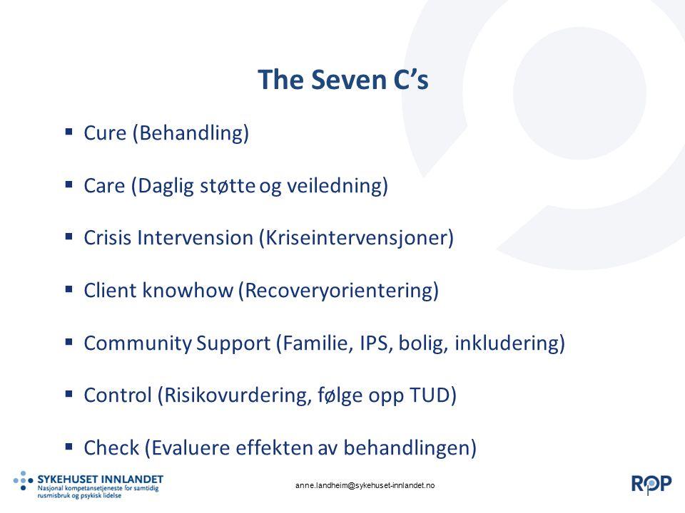 || The Seven C's  Cure (Behandling)  Care (Daglig støtte og veiledning)  Crisis Intervension (Kriseintervensjoner)  Client knowhow (Recoveryorient