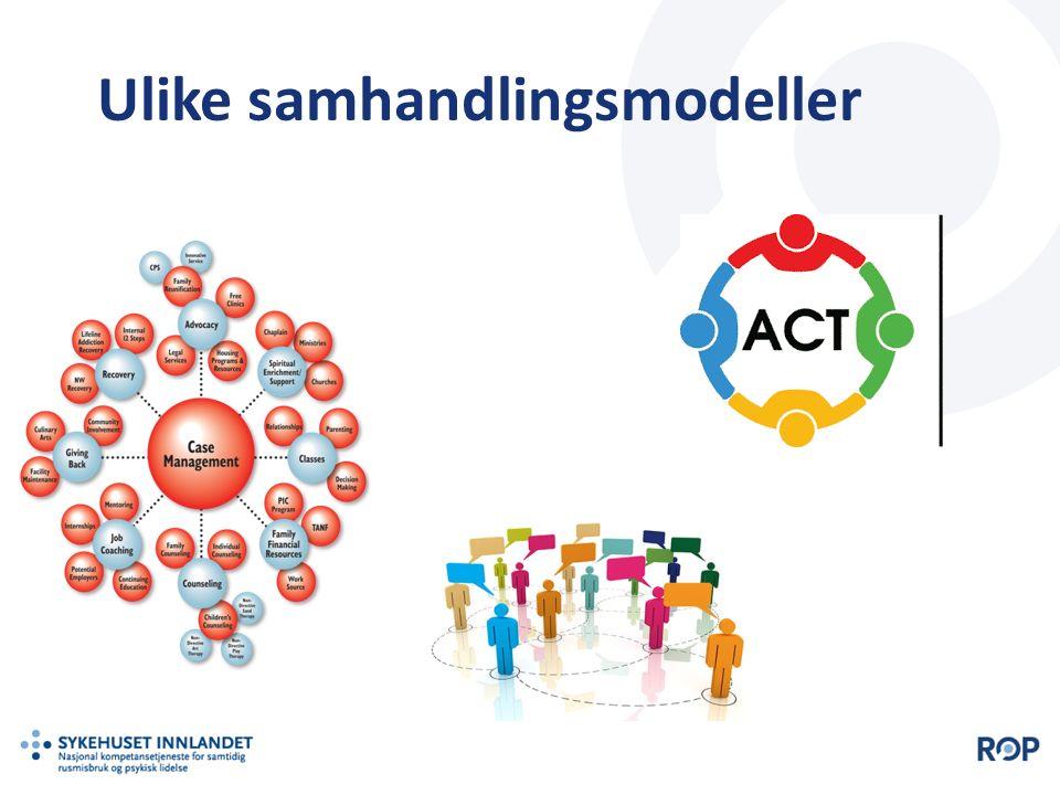 || Tool for Measurement of Assertive Community Treatment (TMACT)  Aktiv oppsøkende arbeidsformn  Tverrfaglig team med kjernebemanning og spesialister  Høy intensitet på tjenesten.