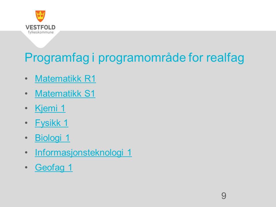 Matematikk R1 Matematikk S1 Kjemi 1 Fysikk 1 Biologi 1 Informasjonsteknologi 1 Geofag 1 Programfag i programområde for realfag 9