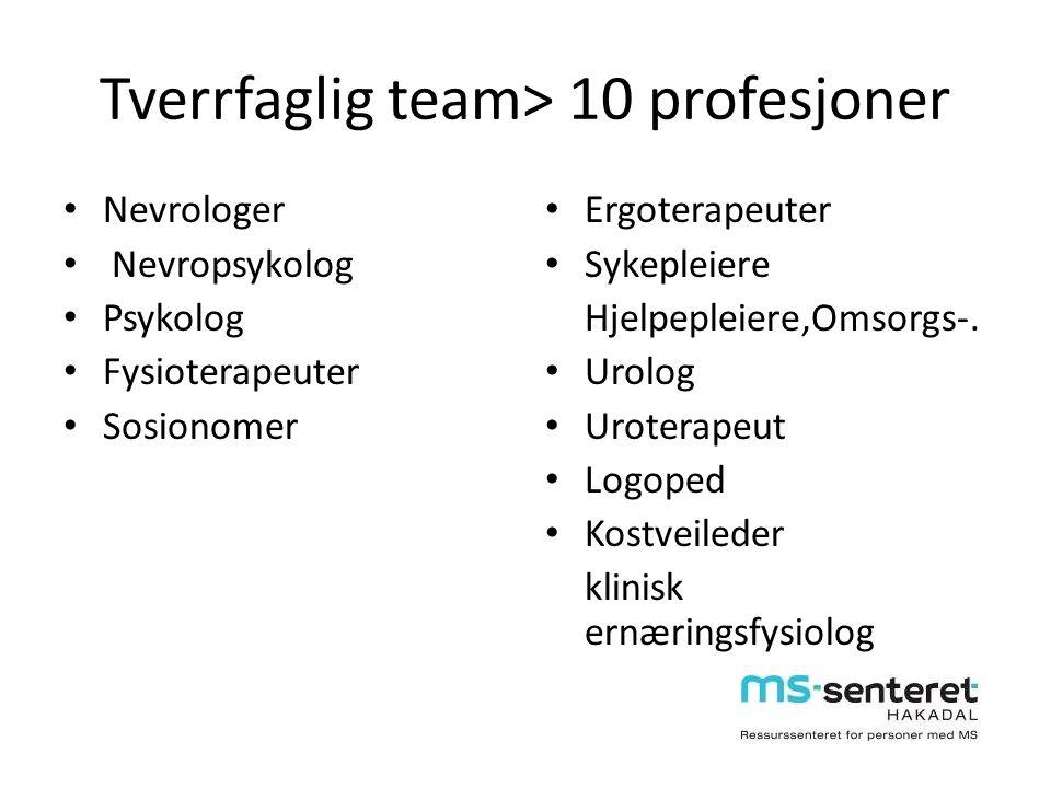 Tverrfaglig team> 10 profesjoner Nevrologer Nevropsykolog Psykolog Fysioterapeuter Sosionomer Ergoterapeuter Sykepleiere Hjelpepleiere,Omsorgs-. Urolo