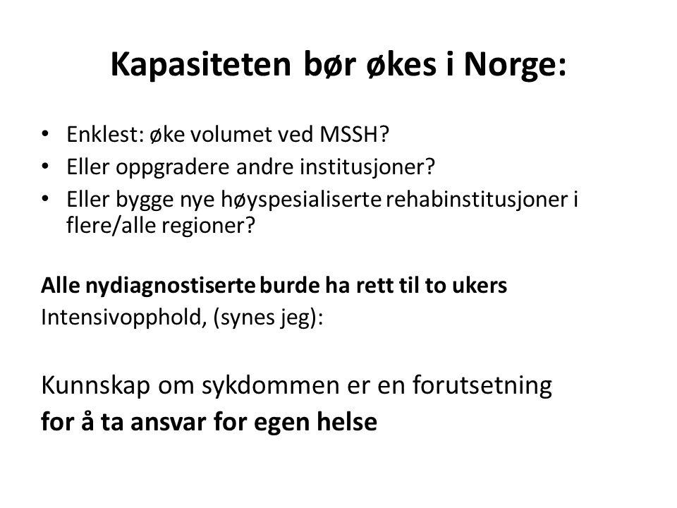 Kapasiteten bør økes i Norge: Enklest: øke volumet ved MSSH? Eller oppgradere andre institusjoner? Eller bygge nye høyspesialiserte rehabinstitusjoner