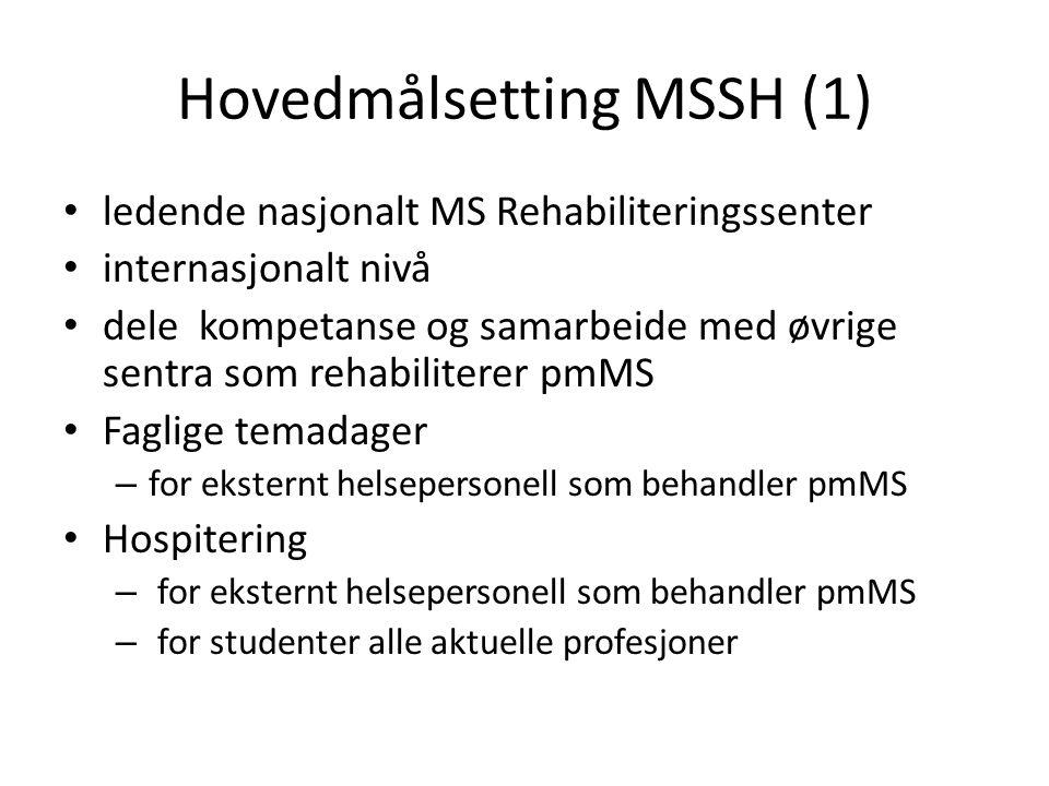 Hovedmålsetting MSSH (1) ledende nasjonalt MS Rehabiliteringssenter internasjonalt nivå dele kompetanse og samarbeide med øvrige sentra som rehabilite