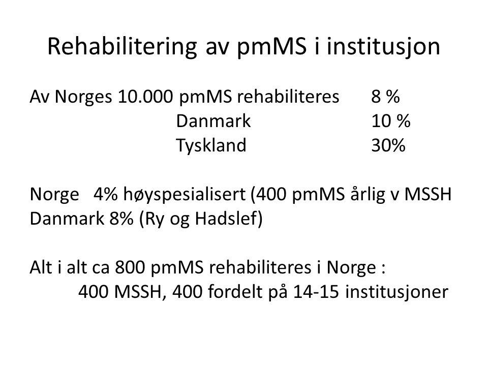 Rehabilitering av pmMS i institusjon Av Norges 10.000 pmMS rehabiliteres 8 % Danmark 10 % Tyskland 30% Norge 4% høyspesialisert (400 pmMS årlig v MSSH