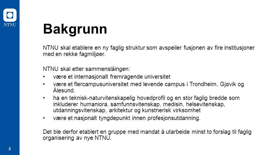 3 Milepæler i arbeidet med faglig organisering Mars 2015: Gruppe for faglig organisering oppnevnes 26.