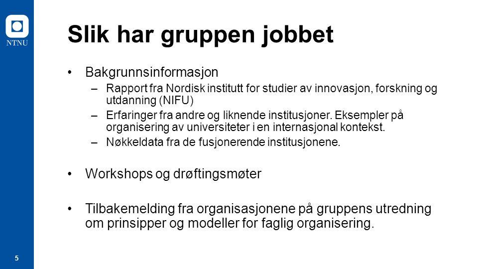 5 Slik har gruppen jobbet Bakgrunnsinformasjon –Rapport fra Nordisk institutt for studier av innovasjon, forskning og utdanning (NIFU) –Erfaringer fra andre og liknende institusjoner.