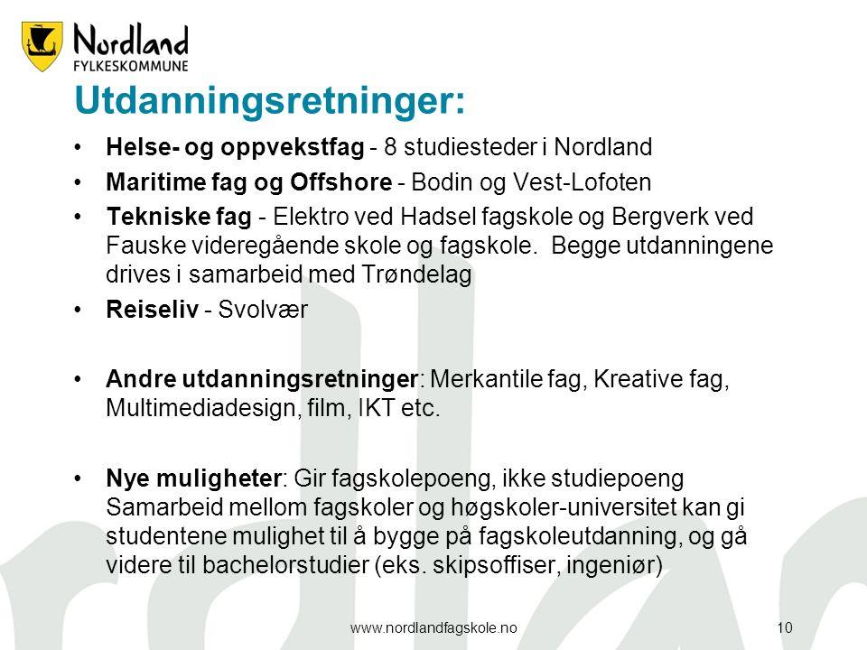 Utdanningsretninger: Helse- og oppvekstfag - 8 studiesteder i Nordland Maritime fag og Offshore - Bodin og Vest-Lofoten Tekniske fag - Elektro ved Hadsel fagskole og Bergverk ved Fauske videregående skole og fagskole.