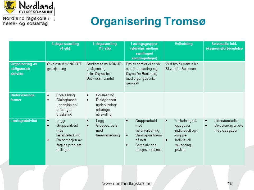 Organisering Tromsø 4-dagerssamling (4 stk) 1-dagssamling (15 stk) Læringsgrupper (aktivitet mellom samlinger/ samlingsdager) Veiledning Selvstudie inkl.