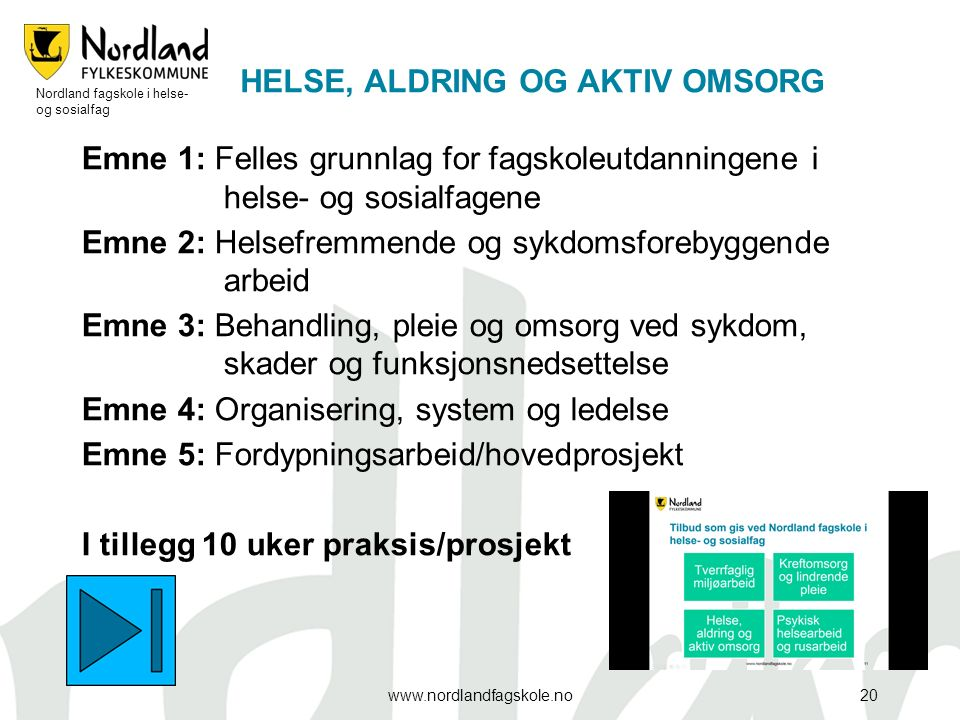 HELSE, ALDRING OG AKTIV OMSORG Emne 1: Felles grunnlag for fagskoleutdanningene i helse- og sosialfagene Emne 2: Helsefremmende og sykdomsforebyggende